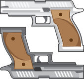Guns Vector silver gunmetal colors eps Royalty Free Stock Image