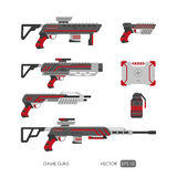 Guns for virtual reality system. Video game weapons set Royalty Free Stock Photography