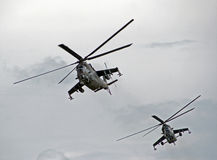 Gunships. Shot of a two helicopters stock photography