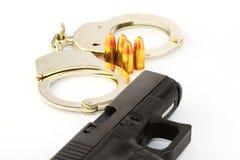 Gunshot. Black semi automatic handgun isolated on white background Stock Photos