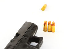 Gunshot. Black semi automatic handgun isolated on white background Stock Image