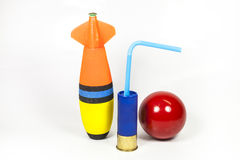 Gunshot and Games. Pocky cards, ammunition, fishing, snooker  on white background Stock Image