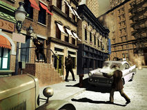 Gunshot in the street. A city street in the sixties. Close to the entrance of a building, three men, looking like mafia gangsters, are shooting each-other stock illustration