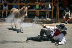 Gunslinger и явная улика - Oatman, AZ Стоковое Изображение