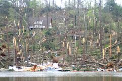 Guntersville Alabama Tornado Damage. This is part of Peston Island after Guntersville Alabama tornado, classified by the National Weather service as an EF-2 with Stock Images