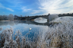 Gunthorpe Bridge on a cold morning. Gunthorpe Bridge near Nottingham, which crosses the River Trent, on a cold and frosty morning Stock Image