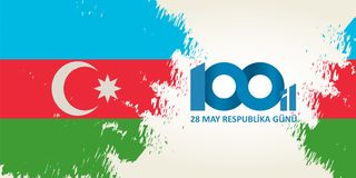 28 gunu van Mei Respublika Vertaling van azerbaijani: 28 Mei R royalty-vrije illustratie