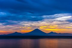 Gunung Agung mountain on sunset. royalty free stock photography