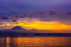 Gunung Agung mountain on sunset, Gili Trawangan, Indonesia. Stock Photos