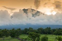 Gunung Agung volcano in Bali. Sunset over Volcano Gunung Agung, Bali's highest peak Royalty Free Stock Image