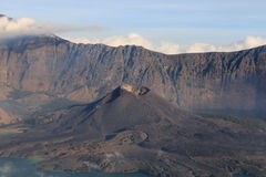 Gunung Barujari active volcanic cone in the Segara Anak crater l Stock Photography