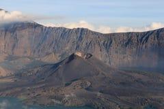 Gunung Barujari active volcanic cone in the Segara Anak crater l Stock Photography
