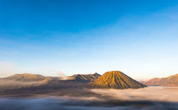 Gunung Bromo, Mount Batok and Gunung Semeru seen from Mount Penanjakan in Java, Indonesia. Royalty Free Stock Photos