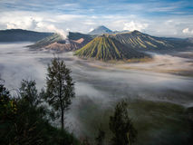 Gunung Bromo, Mount Batok and Gunung Semeru Stock Photos