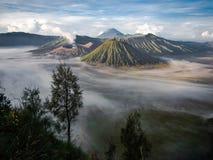 Gunung Bromo, Mount Batok and Gunung Semeru. Seen from Mount Penanjakan at sunrise in Java, Indonesia Stock Photos