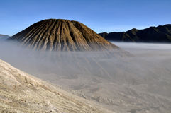 Gunung Bromo valley in fog stock photo