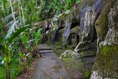 Gunung Kawi. Ancient carved in the stone temple with royal tombs. Bali, Indonesia. PANORAMA, long format.  royalty free stock photos