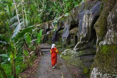Gunung Kawi. Ancient carved in the stone temple with royal tombs. Bali, Indonesia. PANORAMA, long format.  stock photo