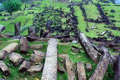 Gunung Padang Megalith Site. The biggest megalith site in South-east Asia Stock Photo