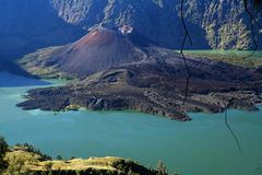 Gunung Rinjani volcano. Crater of Gunung Rinjani volcano on the Lombok island, Indonesia royalty free stock photo