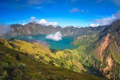 Gunung Rinjani caldera lake from above. Torquise lake inside the caldera of Gunung Rinjani volcano in Lombok island, Indonesia royalty free stock image