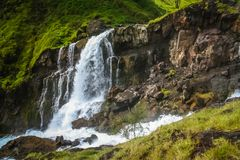 Gunung Rinjani waterfall. Waterfall with a water coming out of crater lake of Gunung Rinjani volcano, Lombok island, Indonesia Stock Photography
