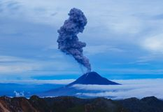 Gunung Sinabung Volcano eruptions. View from Mount Sibayak, Medan, Indonesia Royalty Free Stock Photo