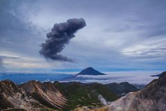 Gunung Sinabung Volcano eruptions. View from Mount Sibayak, Medan, Indonesia Stock Photography