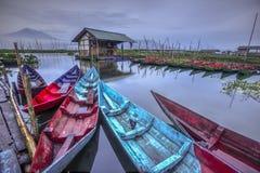在Gunungkidul,日惹,印度尼西亚的美好的日落 库存照片