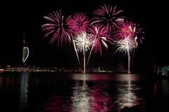 Gunwharf fajerwerki, Portsmouth Zdjęcia Royalty Free
