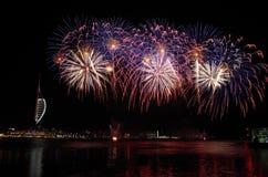 Gunwharf-Feuerwerke, Portsmouth Stockbild
