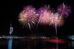 Spinnaker Tower Fireworks, Gunwharf Quays, Portsmouth Stock Image