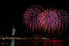 Spinnaker Tower Fireworks, Gunwharf Quays, Portsmouth. Firework display over Spinnaker Tower in Gunwharf Quays, Portsmouth, shot from Gosport Waterfront Royalty Free Stock Image