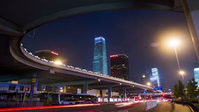 Guomao CBD and flyover at night in Beijing stock video footage