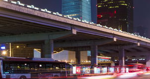 Guomao CBD and flyover at night in Beijing, China stock video