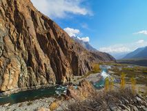 Gupis Lake In Ghizer Valley, Northern Pakistan In Autumn Season. Beautiful Autumn Landscape Of Gupis Lake In Ghizer Valley, Northern Pakistan Royalty Free Stock Image