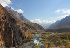 Gupis Lake In Ghizer Valley, Northern Pakistan In Autumn Season. Beautiful Autumn Landscape Of Gupis Lake In Ghizer Valley, Northern Pakistan Stock Photography