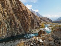 Gupis Lake In Ghizer Valley, Northern Pakistan In Autumn Season. Beautiful Autumn Landscape Of Gupis Lake In Ghizer Valley, Northern Pakistan Royalty Free Stock Photo