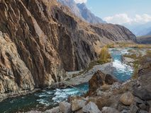 Gupis Lake In Ghizer Valley, Northern Pakistan In Autumn Season. Beautiful Autumn Landscape Of Gupis Lake In Ghizer Valley, Northern Pakistan Royalty Free Stock Photos