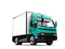 Guppie green small box truck. Isolated on white background Royalty Free Stock Photos