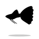 Guppy fish black silhouette aquatic animal vector illustration