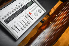 Guqin instrument and high res sound recorder. Guqin chinesse instrument and high quality sound recorder Royalty Free Stock Image