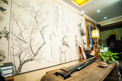 Guqin on the table in the room Royalty Free Stock Photos