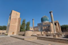 Gur-e-Amir Mausoleum in Centraal Samarkand, Oezbekistan langs royalty-vrije stock afbeelding