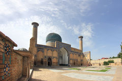 Gur-e-Amir in Samarkand city, Uzbekistan. The Gūr-i Amīr (Guri Amir) is a mausoleum of the Asian conqueror Tamerlane (also known as Timur). It occupies an Stock Images