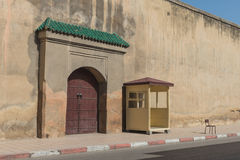 The guradhouse near  old gate with wooden door Royalty Free Stock Photography