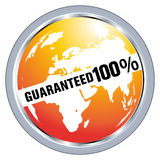 Guranateed label. 100% symbol for totally guaranteed product Royalty Free Stock Images