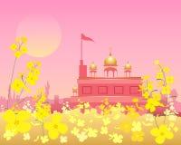 Gurdwara at sunset. An illustration of an ornate gurdwara at sunset in beautiful rural punjab with mustard flowers under a pink sky Stock Image