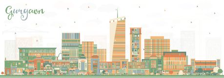 Gurgaon India City Skyline with Color Buildings. stock illustration