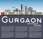 Gurgaon India City Skyline with Gray Buildings, Blue Sky and Cop royalty free illustration